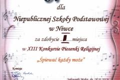 Dyplom I miejsce w konkursie piosenki religijnej