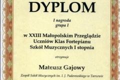 Dyplom Mateusz Gajowy.